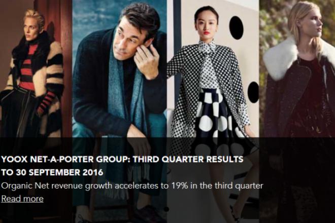 奢侈品电商 Yoox-Net-a-Porter 前九个月销售额同比增长 17%