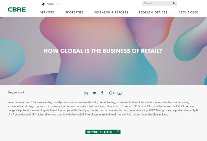 CBRE最新研究报告:2017年全球零售商扩张速度减慢,香港依然是新品牌入驻最多的城市