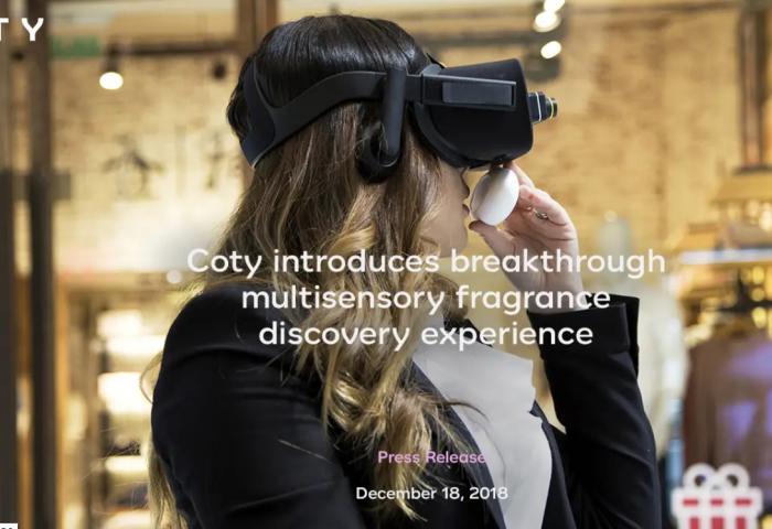 """美妆巨头Coty 首次利用虚拟现实技术(VR)让顾客从""""情感维度""""体验香水"""