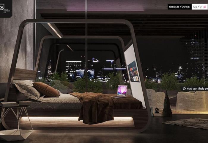 世界首款自带4K投影仪的智能床,出自意大利设计公司 Hi-Interiors 之手