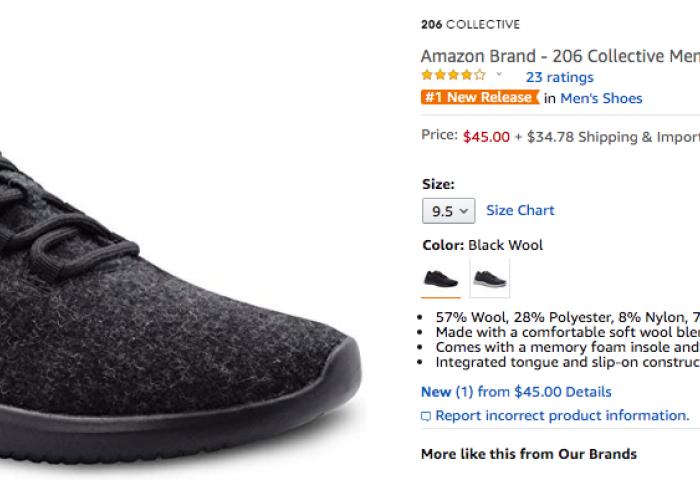 亚马逊推出自有品牌的羊毛运动鞋,对标Allbirds,价格腰斩
