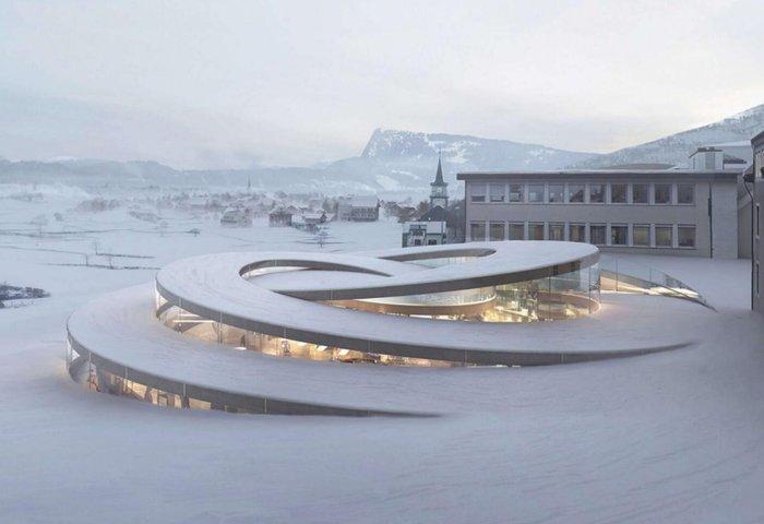 瑞士爱彼钟表博物馆建成,宛如巨型表盘从雪地中螺旋升起