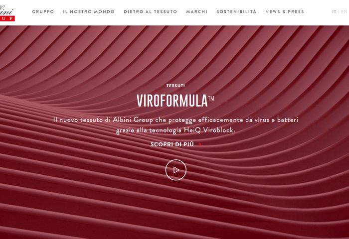 意大利两大纺织品巨头 Albini和 Marzotto先后推出抗病毒创新面料