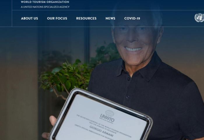 """乔治·阿玛尼被联合国世界旅游组织任命为""""负责任旅游特别大使"""""""