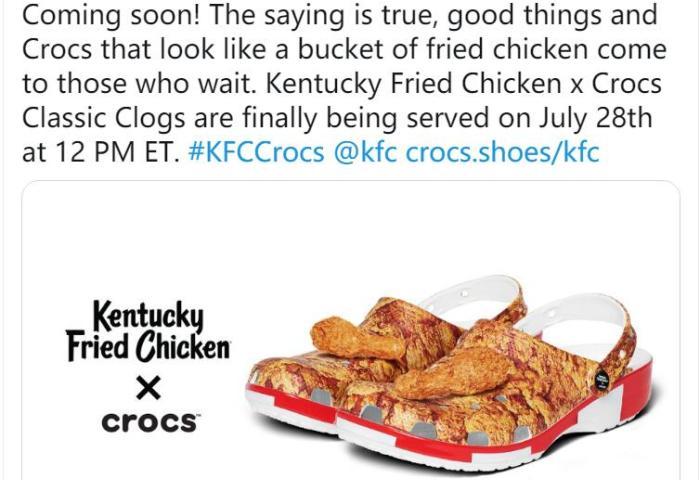 "Crocs 与肯德基联手推出跨界新品:自带""鸡腿""的洞洞鞋"